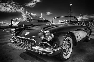 1959 Corvette Chevrolet - Black And White Art Original by Dapixara Art