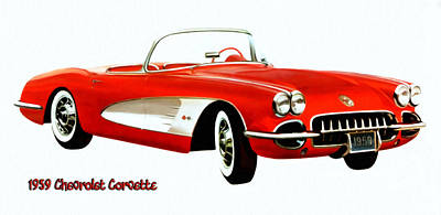 Digital Art - 1959 Corvette by Walter Colvin