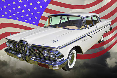 Photograph - 1959 Edsel Ford Ranger And Us Flag by Keith Webber Jr