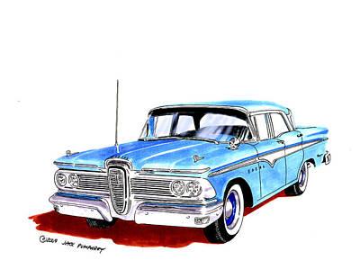 Automotive Drawing - 1959 Ford Edsel Ranger 4-door Sedan by Jack Pumphrey