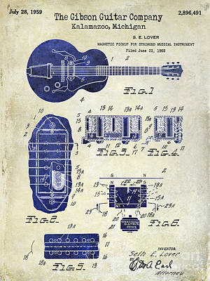 Two Tone Photograph - 1959 Gibson Guitar Patent Drawing 2 Tone by Jon Neidert