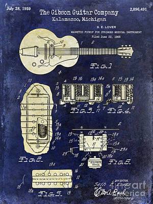 Two Tone Photograph - 1959 Gibson Guitar Patent Drawing Blue 2 Tone by Jon Neidert