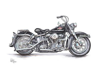 Bicycle Drawing - 1959 Harley Davidson Panhead by Shannon Watts
