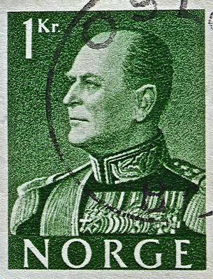 1959 King Olav V Norway Stamp - Oslo Postmark Art Print by Bill Owen