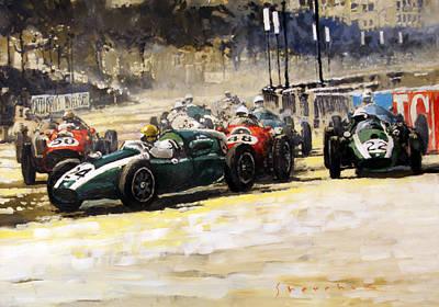Cooper Painting - 1959 Monaco Gp  #24 Cooper Climax T51 Jack Brabham Winner  by Yuriy Shevchuk