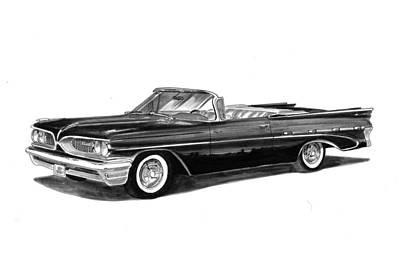 Pontiac Drawing - 1959 Pontiac Bonneville Convertible by Jack Pumphrey