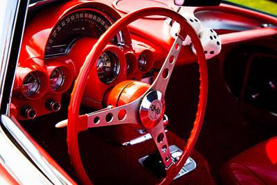 1959 Red Chevy Corvette Art Print by David Patterson