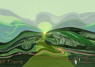 196 - Mountain-morning   Art Print by Irmgard Schoendorf Welch