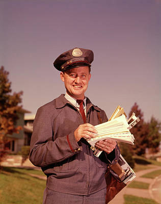 Old Post Office Photograph - 1960 1960s Smiling Mailman Holding by Vintage Images