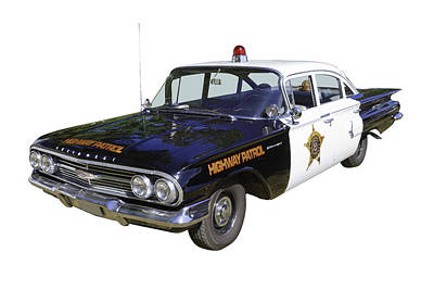 1960 Chevrolet Biscayne Police Car Art Print by Keith Webber Jr