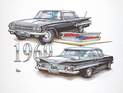 Chip Drawing - 1960 Chevrolet Sports Sedan by Shannon Watts