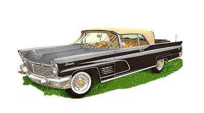 Classic Car Drawings Painting - 1960 Continental Convertible by Jack Pumphrey