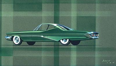 Car Drawing - 1960 Desoto  Vintage Styling Design Concept Rendering Sketch by John Samsen