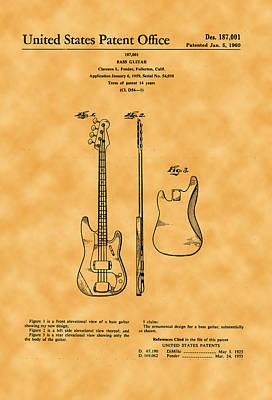 Photograph - 1960 Fender Guitar Patent by Michael Porchik