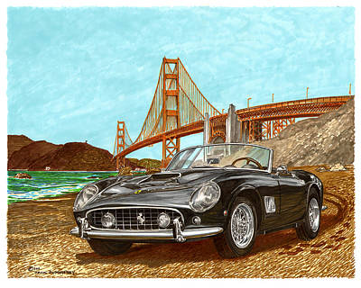 Babe Ruth Drawing - 1960 Ferrari 250 California G T by Jack Pumphrey