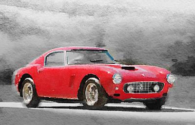 1960 Ferrari 250 Gt Swb Watercolor Art Print by Naxart Studio