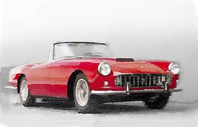 Old Car Painting - 1960 Ferrari 250gt Pinifarina Watercolor by Naxart Studio