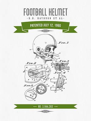1960 Football Helmet Patent Drawing - Retro Green Art Print