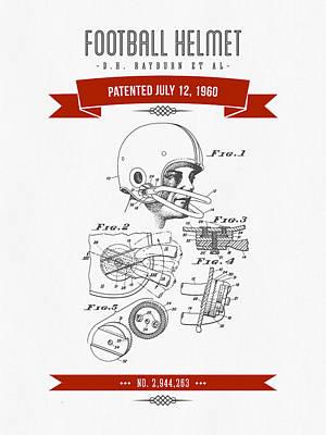 1960 Football Helmet Patent Drawing - Retro Red Art Print