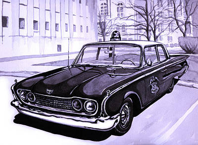 Barney Fifes Police Car Painting - 1960 Ford Fairlane Police Car by Neil Garrison