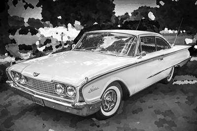 1960 Ford Starliner Photograph - 1960 Ford Starliner Bw by Rich Franco