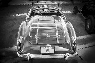 Polished Steel Photograph - 1960 Mga 1600 Convertible Bw by Rich Franco