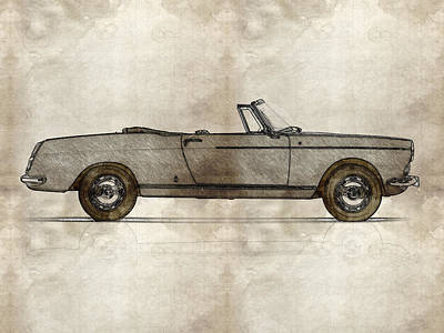 Cabriolet Painting - 1960 Peugeot 404 Cabriolet by Celestial Images