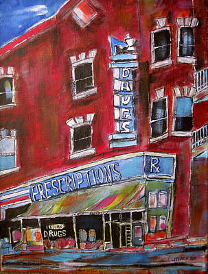 Old Jewish Area Painting - 1960 Pharmacy St. Viateur by Michael Litvack