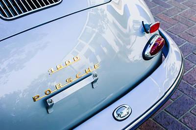 1960 Photograph - 1960 Porsche 356 B 1600 Super Roadster Rear Emblem - Taillight by Jill Reger