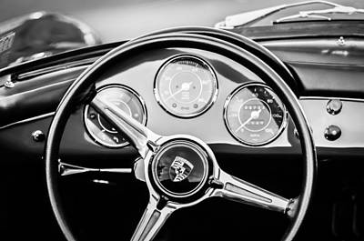 Roadster Photograph - 1960 Porsche 356 B Roadster Steering Wheel Emblem -1096bw by Jill Reger