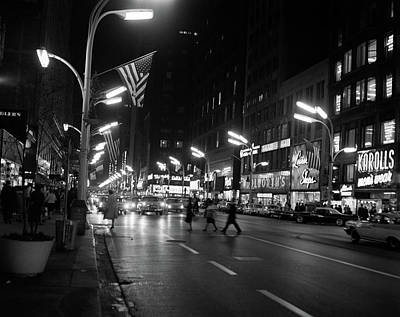 American City Scene Photograph - 1960s 1963 Night Scene Of Busy Traffic by Vintage Images