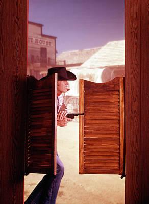 1960s 1970s Western Cowboy With Pistol Art Print