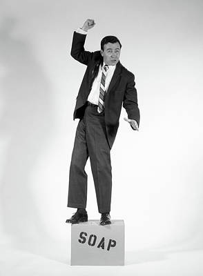 Orator Photograph - 1960s Angry Man In Suit On Soapbox by Vintage Images