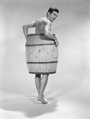1960s Angry Naked Man Wearing A Barrel Art Print