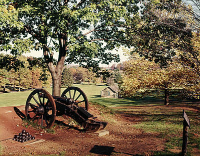 Old Log Cabin Photograph - 1960s Autumn Scene At Valley Forge by Vintage Images