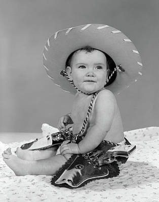 1960s Baby Girl Wearing Cowboy Hat Toy Art Print