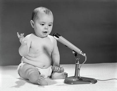 1960s Baby In Diaper Speaking Art Print