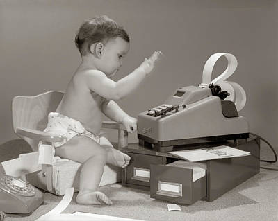 Copy Machine Photograph - 1960s Baby Seated In Small Chair by Vintage Images