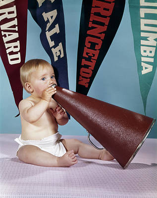 College Girls Wall Art - Photograph - 1960s Baby Shouting Into Cheerleader by Vintage Images