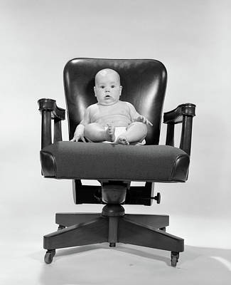 1960s Baby Sitting In Executive Office Art Print