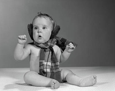Muffler Photograph - 1960s Baby Sitting Up Wearing Winter by Vintage Images