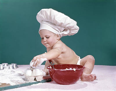 Mixing Bowls Photograph - 1960s Baby Wearing Chefs Hat Holding by Vintage Images