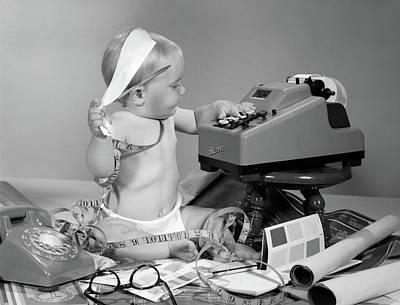 1960s Baby With Adding Machine Art Print