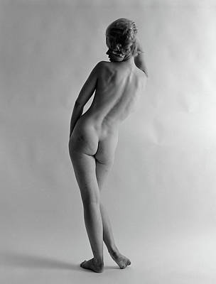 Black And White Studio Nude Photograph - 1960s Back View Of Nude Blond Woman by Vintage Images