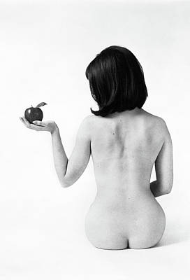 Black And White Studio Nude Photograph - 1960s Back View Of Nude Brunette Seated by Vintage Images