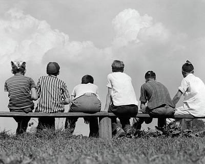 1960s Back View Of Six Anonymous Boy Art Print