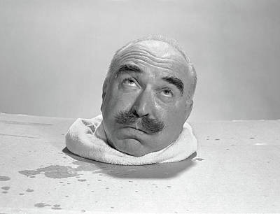 Sweating Photograph - 1960s Bald Elderly Man Head Sweating by Vintage Images