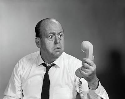 1960s Balding Man Looking Angry Art Print