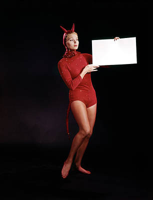 Leotard Photograph - 1960s Blond Young Woman In Red Devil by Vintage Images