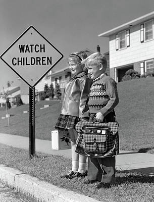 Waiting For Lunch Photograph - 1960s Boy & Girl With Schoolbag & Lunch by Vintage Images